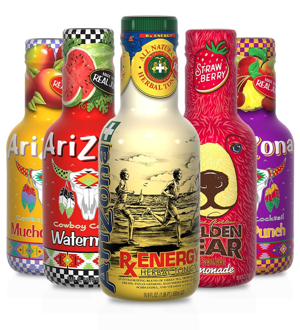 Arizona Premium All Natural Juice Variety Pack in 16.9 Ounce Bottles, Fruit Punch (3), Mucho Mango (3), Watermelon (2), RX Energy (2), Strawberry Lemonade (2) - Pack of 12