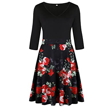V Neck Vestidos 2018 Autumn A-Line Floral Print Winter Dress Vestido Vintage D35,
