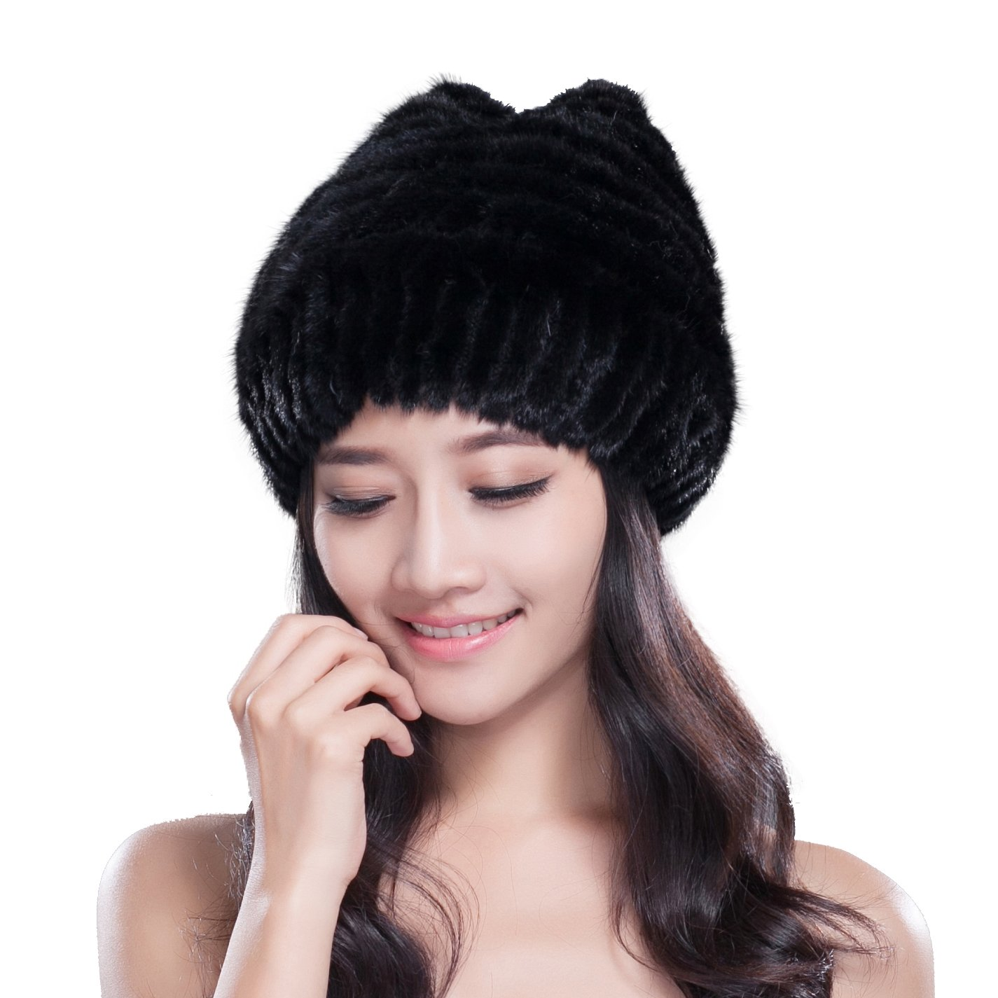 URSFUR Knited Mink Fur Starfish Beanie Hat with Mink Fur Pom Poms (One Size Fits All, Black)