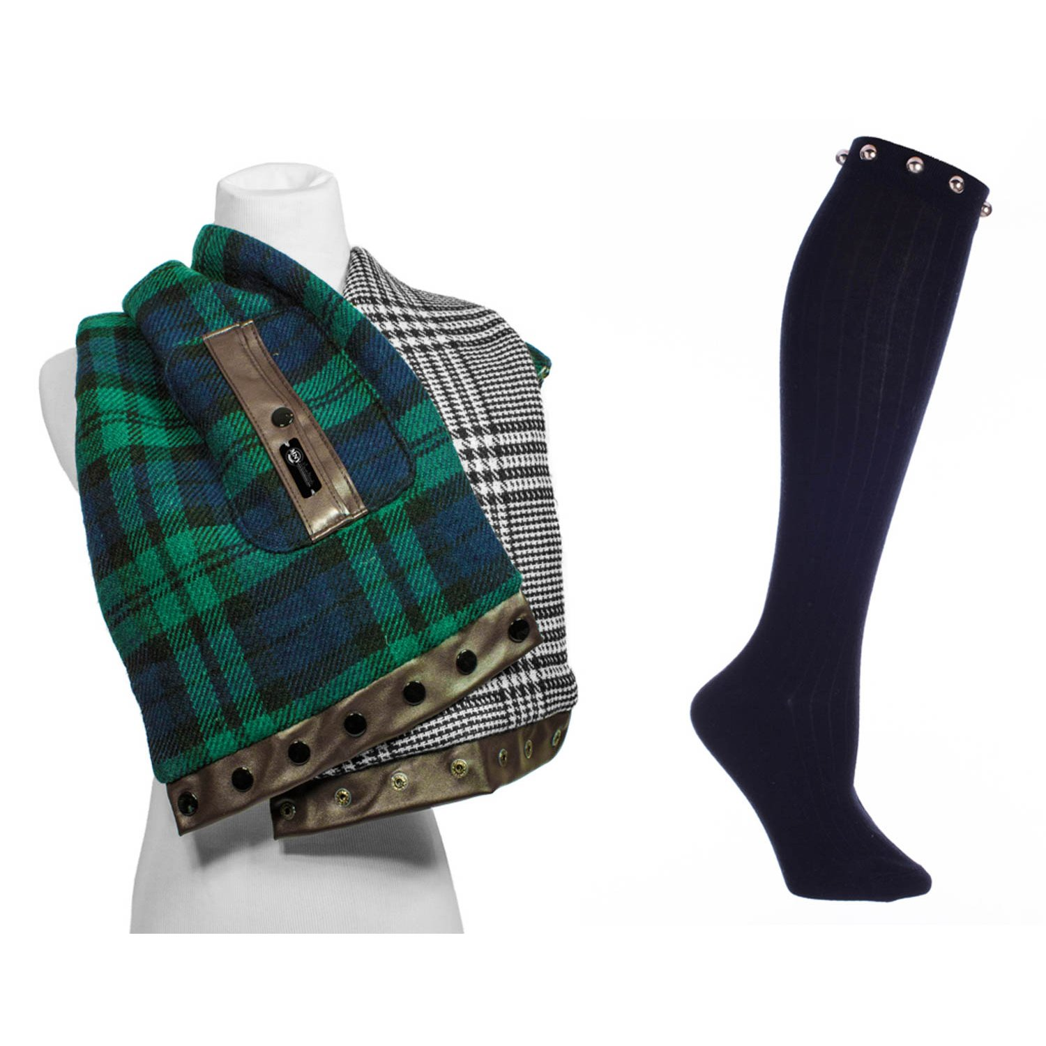 Women's Scarf-Reversible w/faux leather front pocket in Green Plaid and Knee High Boot Socks With Round Studs Black One size Fits Most By MinxNY