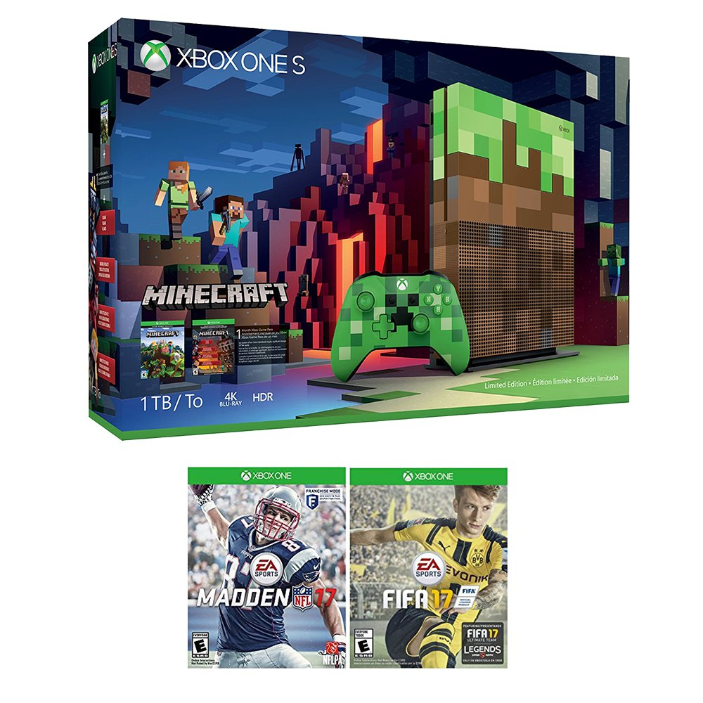 Xbox Minecraft Sports Bundle (3 Items): Xbox One S 1TB Limited Edition Minecraft Console with Creeper Controller, NFL 17, and FIFA 17 Games