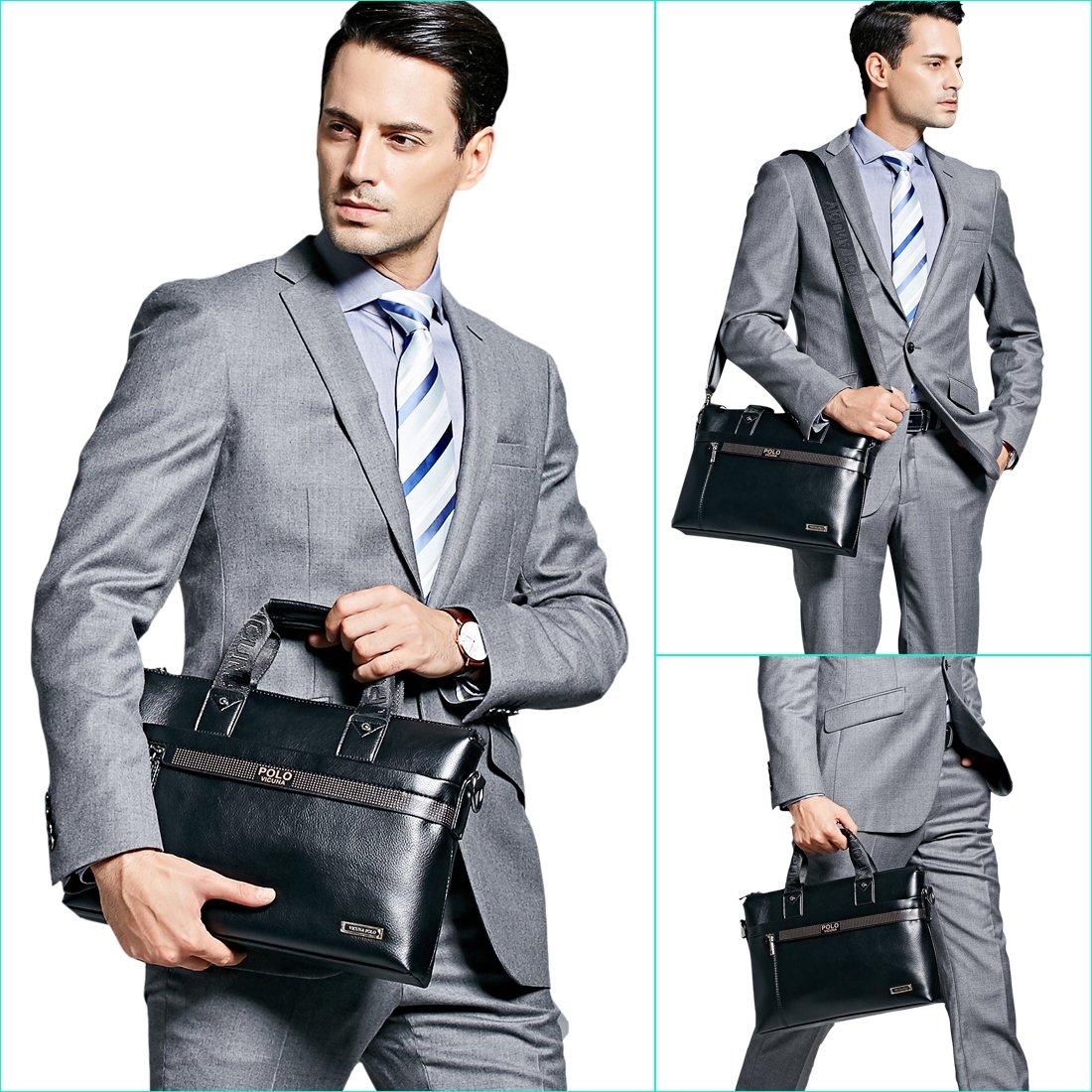 VICUNA POLO Men Briefcase Bag Business Bag Leather Laptop Bag Man Bag Handbag (black for 15.6inch) by VICUNA POLO (Image #7)