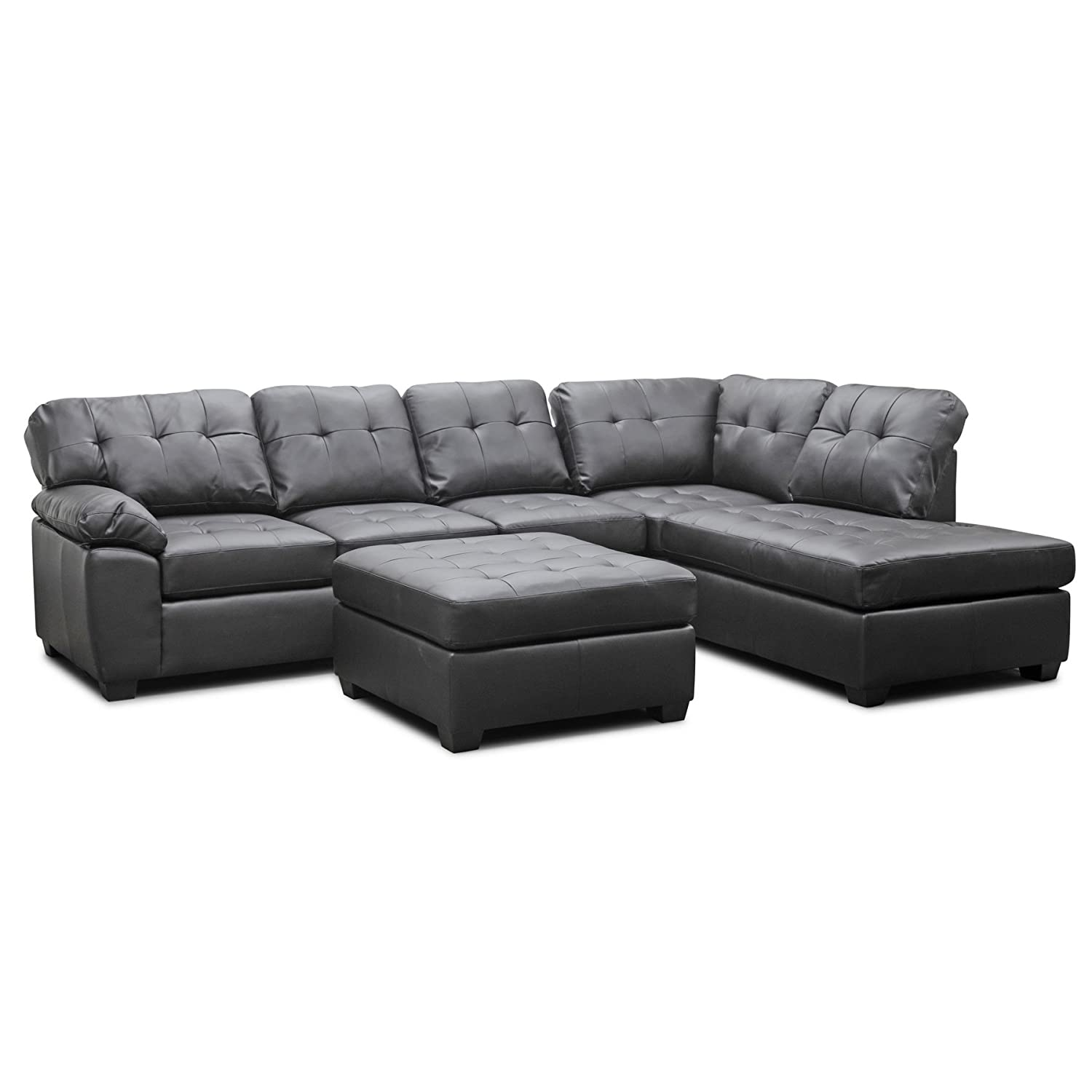 Amazon.com: Baxton Studio Mario Modern Sectional Sofa with Ottoman ...