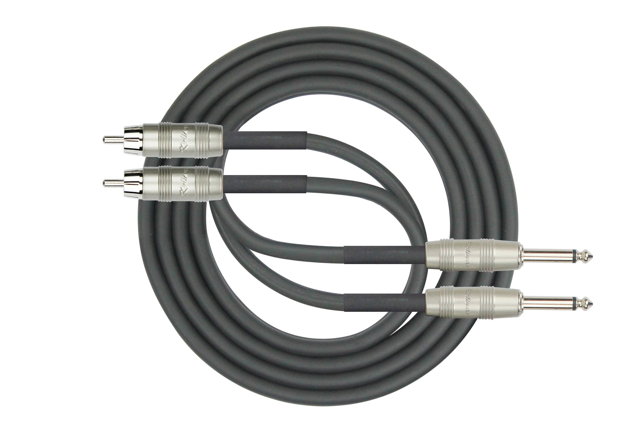 Kirlin Cable AP-403PR-06/BK - 6 Feet - Dual RCA to Dual 1/4-Inch Patch Cable by KIRLIN, KIRLIN CABLE