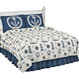 Collections Etc Coastal Seafaring Beach House Ocean Inspired Lightweight Quilt, Blue, Twin