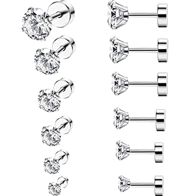 a1d312887 6 Pairs 18G Stainless Steel Cubic Zirconia Studs Earrings Cartilage Ear  Helix Tragus Barbell Piercings, 6 Size: Amazon.co.uk: Jewellery