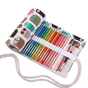 Abaría - Bolso para lápices, Estuche Enrollable para 48 lapices Colores, portalápices de Lona, Bolsa Organizador lápices para Infantil Adulto, Lindo ...