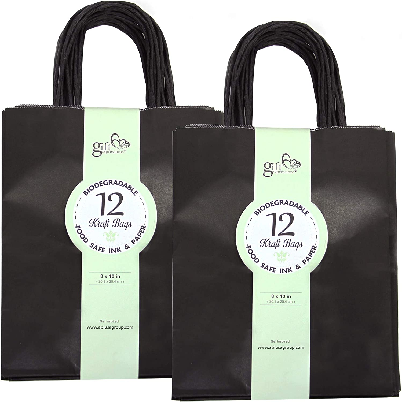 24CT Medium Black Biodegradable, Food Safe Ink & Paper, Premium Quality Paper (Sturdy & Thicker), Kraft Bag with Colored Sturdy Handles (Medium, Black)
