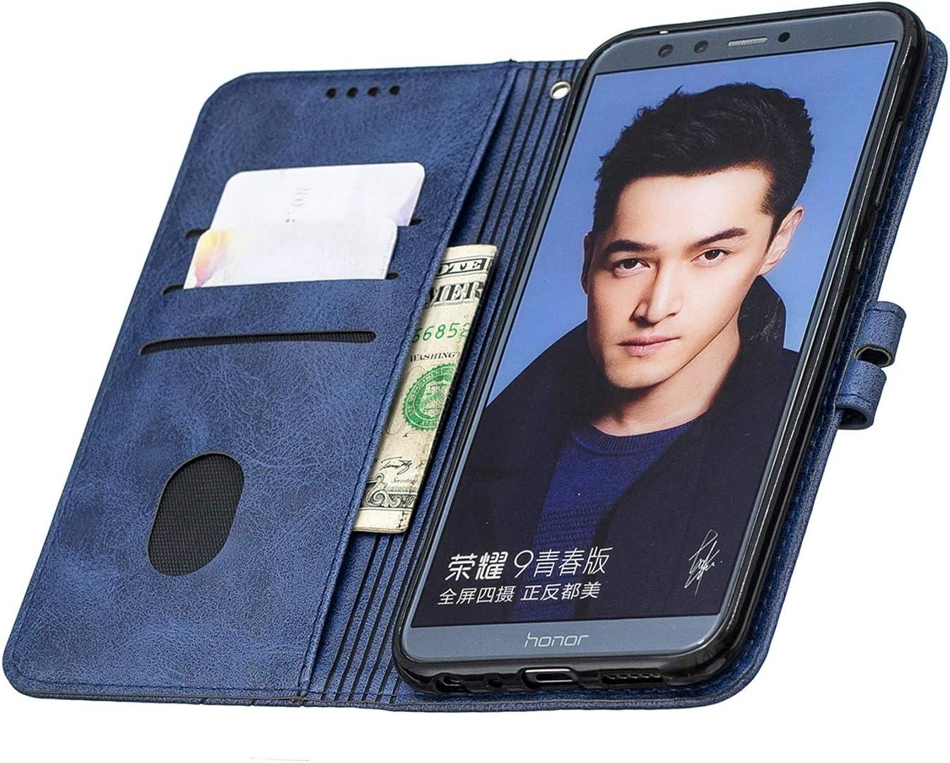 Huawei Honor 9 Lite Cover in Pelle Funzione di Stand Slot per Schede Antiurto Leather Case Cover per Huawei Honor9 Lite Docrax Custodia DOHEX120269 Blu Portafoglio