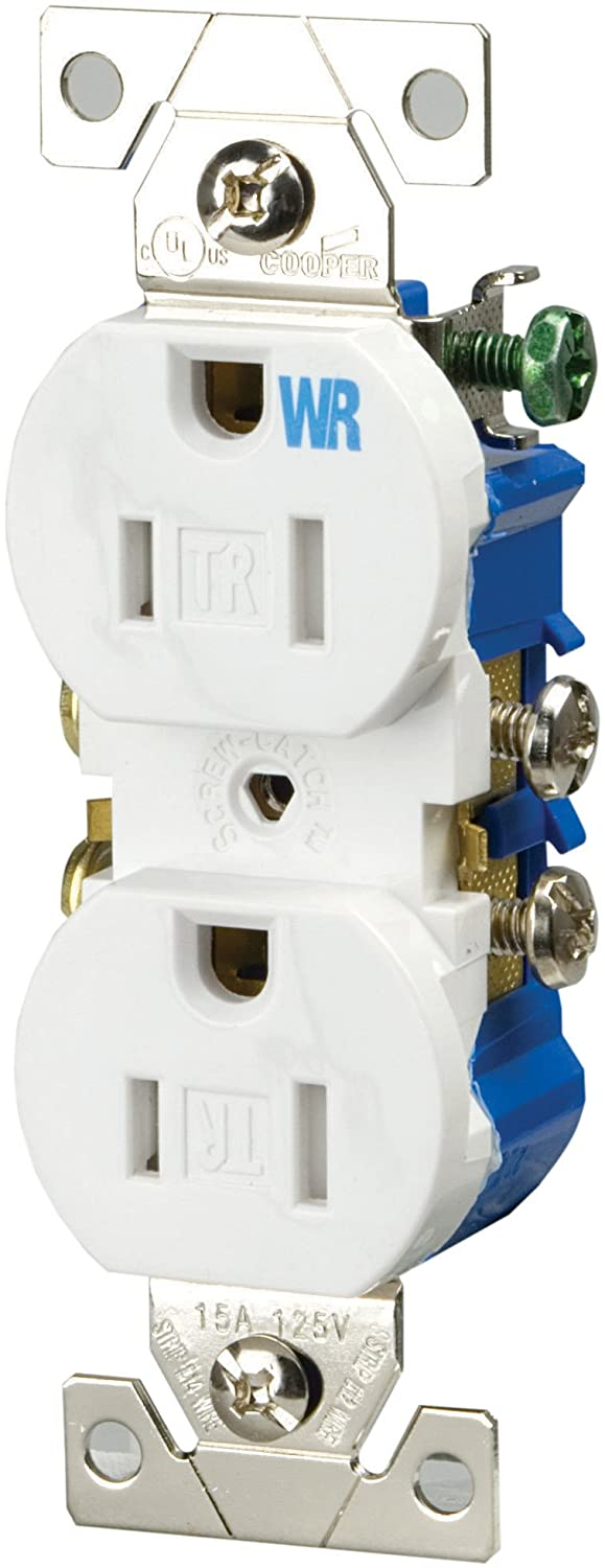 Eaton Twr270w 15 Amp 2 Pole 3 Wire 125 Volt Tamper And Weather Wiring For Wall Socket Resistant Duplex Receptacle White Electrical Outlets