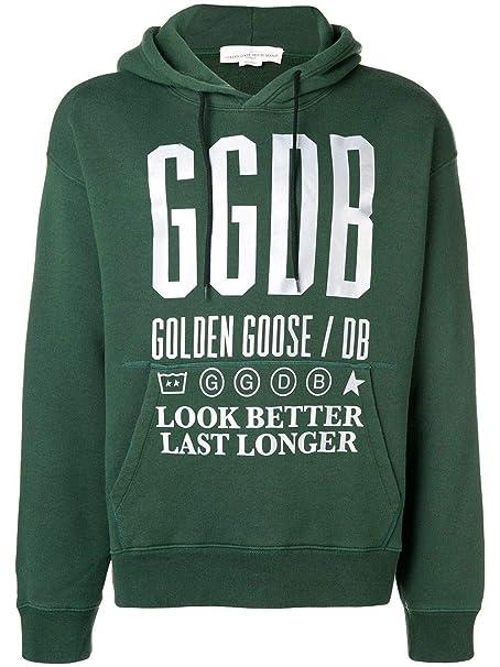 c0633c9ccb Golden Goose Felpa Uomo G33MP557A3 Cotone Verde: Amazon.it ...