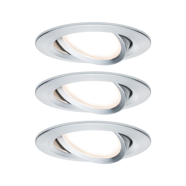 Paulmann 939.03 Premium EBL Set Coin Slim dimmbar rund LED schwenkbar LED rund 3x6,8W 2700K 230V 51mm Alu gedreht/Alu 93903 Spot Einbaustrahler Einbauleuchte df2948