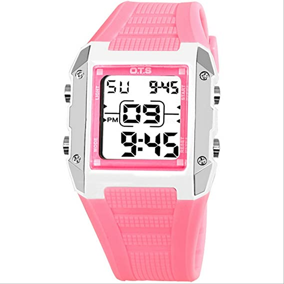 o.t.s reloj digitale niña impermeable reloj pulsera cuadrado multifuncional Retro - Luz LED natación Cronógrafo Alarma Sports para enfant-rose: Amazon.es: ...