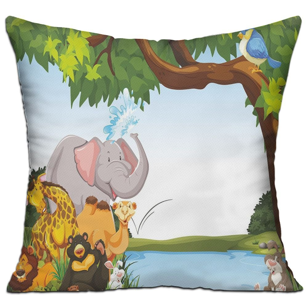HAIXIA Kids Various Cartoon Style Animals Together By River Bank Tree Bird Cute Funny Wildlife Decorative Living Room Decor Throw Pillow Cover 18'' X 18''inch Double Side Print