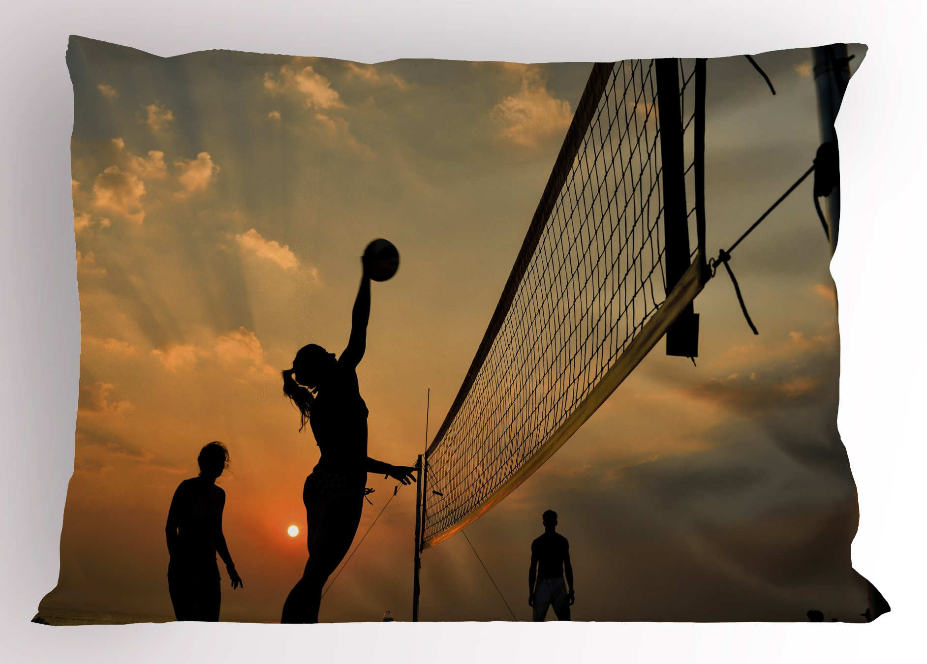 Lunarable Volleyball Pillow Sham, Beach Sports at Sunset Open Sky Net and Ball Activity Excitement Fun and Games, Decorative Standard Size Printed Pillowcase, 26 X 20 inches, Multicolor