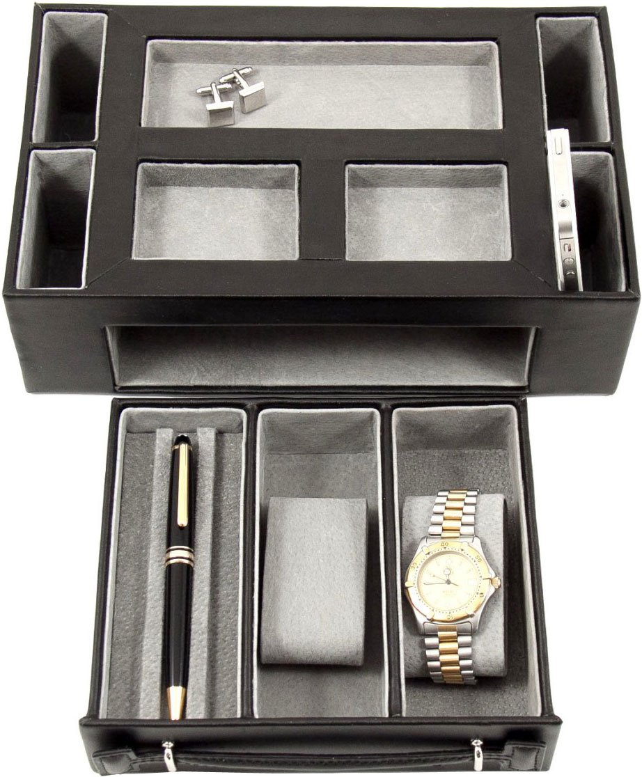 amazoncom valet box with pen and watch drawer black home u0026 kitchen