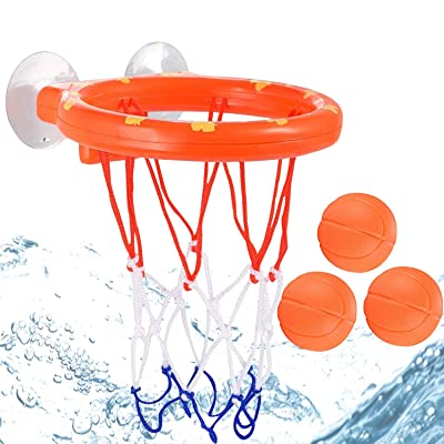 Bath Swimming Pool Ball Basketball Toys for Toddlers Boys Girls, 1 Hoop with Suctions Cups Stick to Wall & 3 Balls for Shooting: Toys & Games