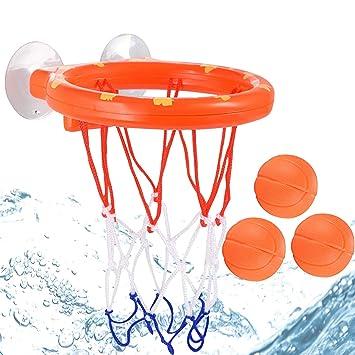 HongMe Juguetes de baño Juego de aro de Baloncesto y Juego de 3 ...