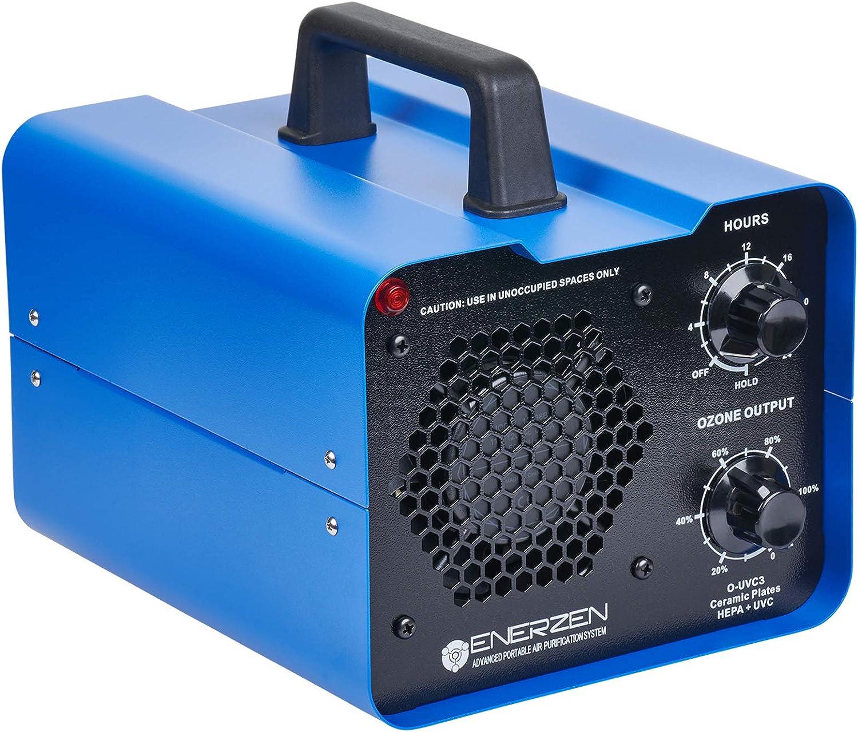 Enerzen Commercial Ozone Generator Industrial O3 Air Purifier Deodorizer Sterilizer (O-uvc3 3 Ozone Plates)