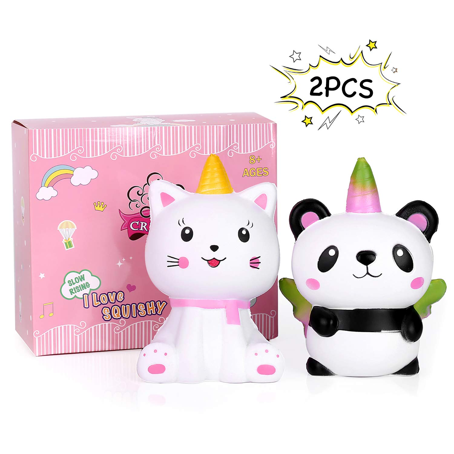 Cat Panda Unicorn Squishy Pack - Crefun 2R-SD0J-29MS (2019 New) Jumbo Slow Rising Cute Squishy Animals Gifts for Kid Stress Relief Toys Including 2Pcs Caticorn Pandacorn Squishies,5.5 Inch,Super Soft