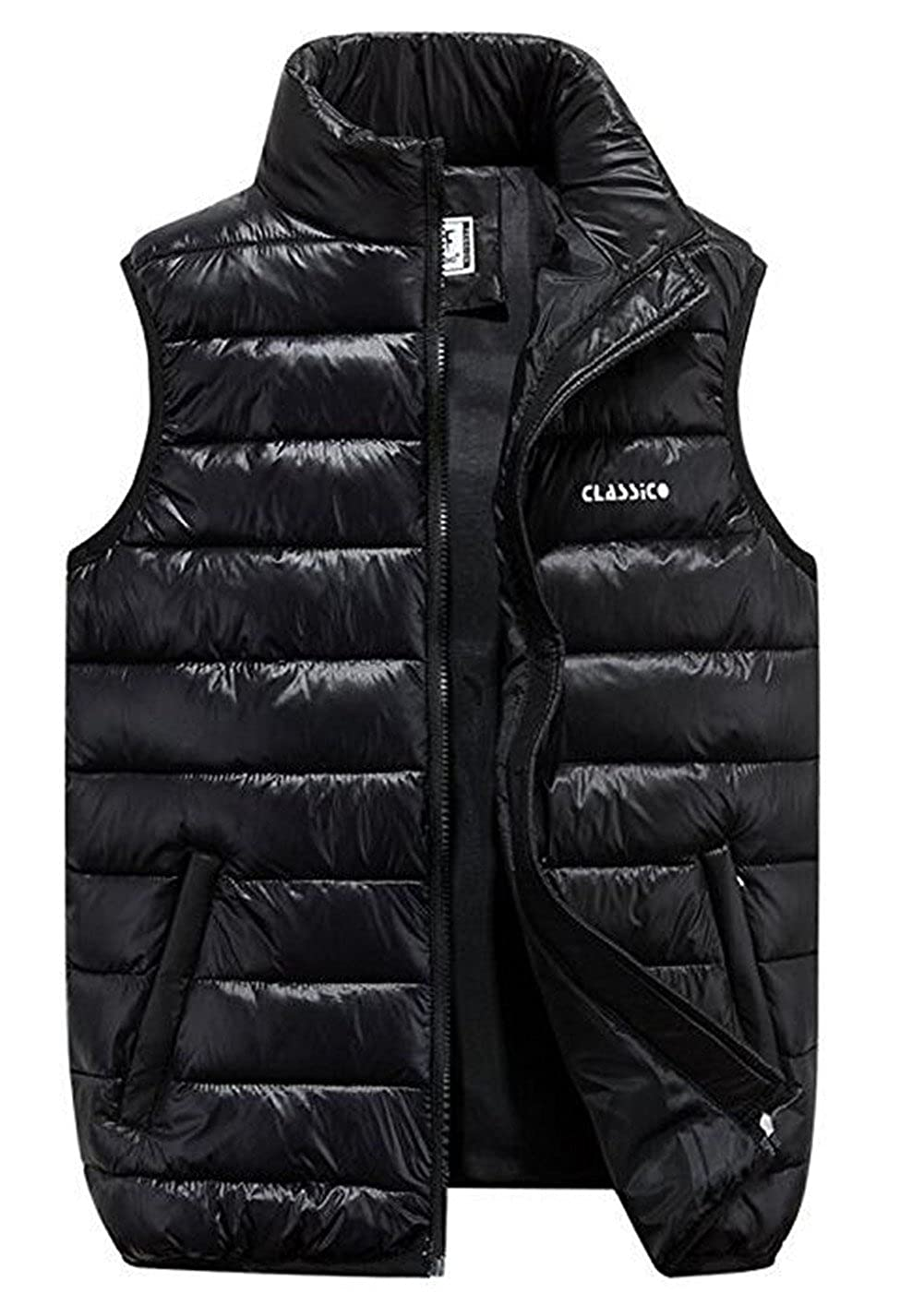 897d4c86c04cb Men s Winter Warm Puffer Vest Outerwear Lightweight Quilted Puffer  Sleeveless Jacket Gilets Outdoot Vest  Amazon.co.uk  Clothing