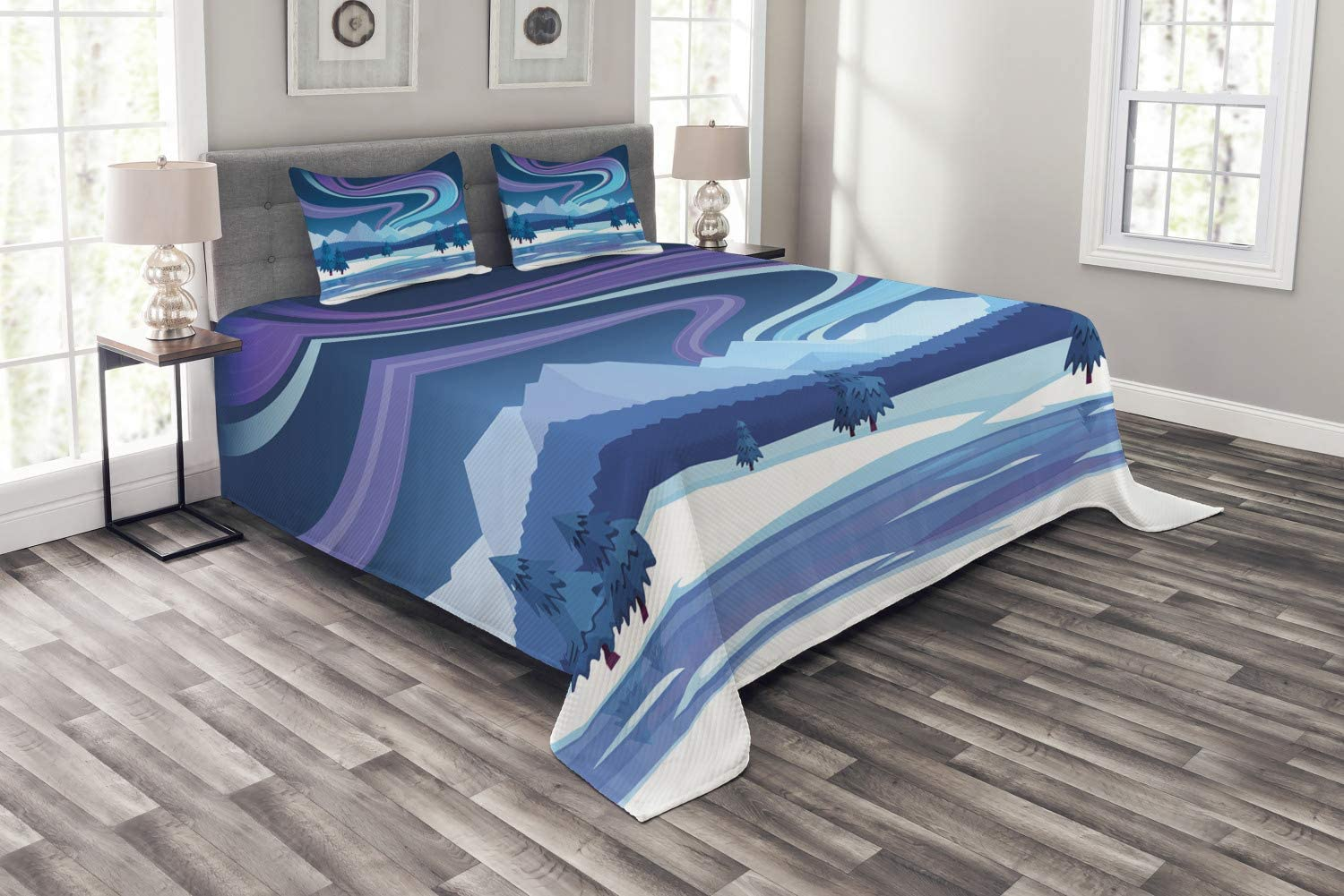 Ambesonne Northwoods Bedspread, Aurora Borealis Composition Countryside Elements Frozen Lake Hills and Trees, Decorative Quilted 3 Piece Coverlet Set with 2 Pillow Shams, Queen Size, Blue Aqua