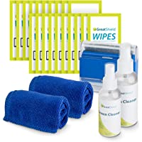 GreatShield Screen Cleaning Kit with 2 Bottle Solution (60ml and 120ml), 2 Microfiber Cloths, 20 Non-Alcohol Screen…