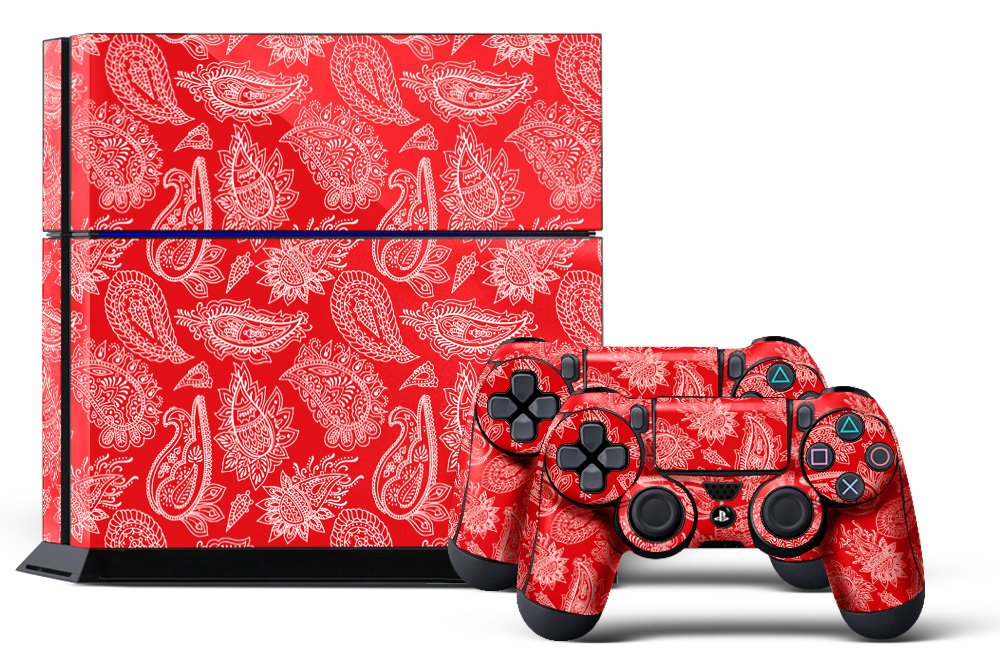 PS4 Console Designer Skin for Sony PlayStation 4 System plus Two(2) Decals for: PS4 Dualshock Controller Paisley Red