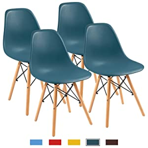 Furmax Pre Assembled Modern Style Dining Chair Mid Century White Modern DSW Chair, Shell Lounge Plastic Chair for Kitchen, Dining, Bedroom, Living Room Side Chairs(Set of 4) (Dark Green)