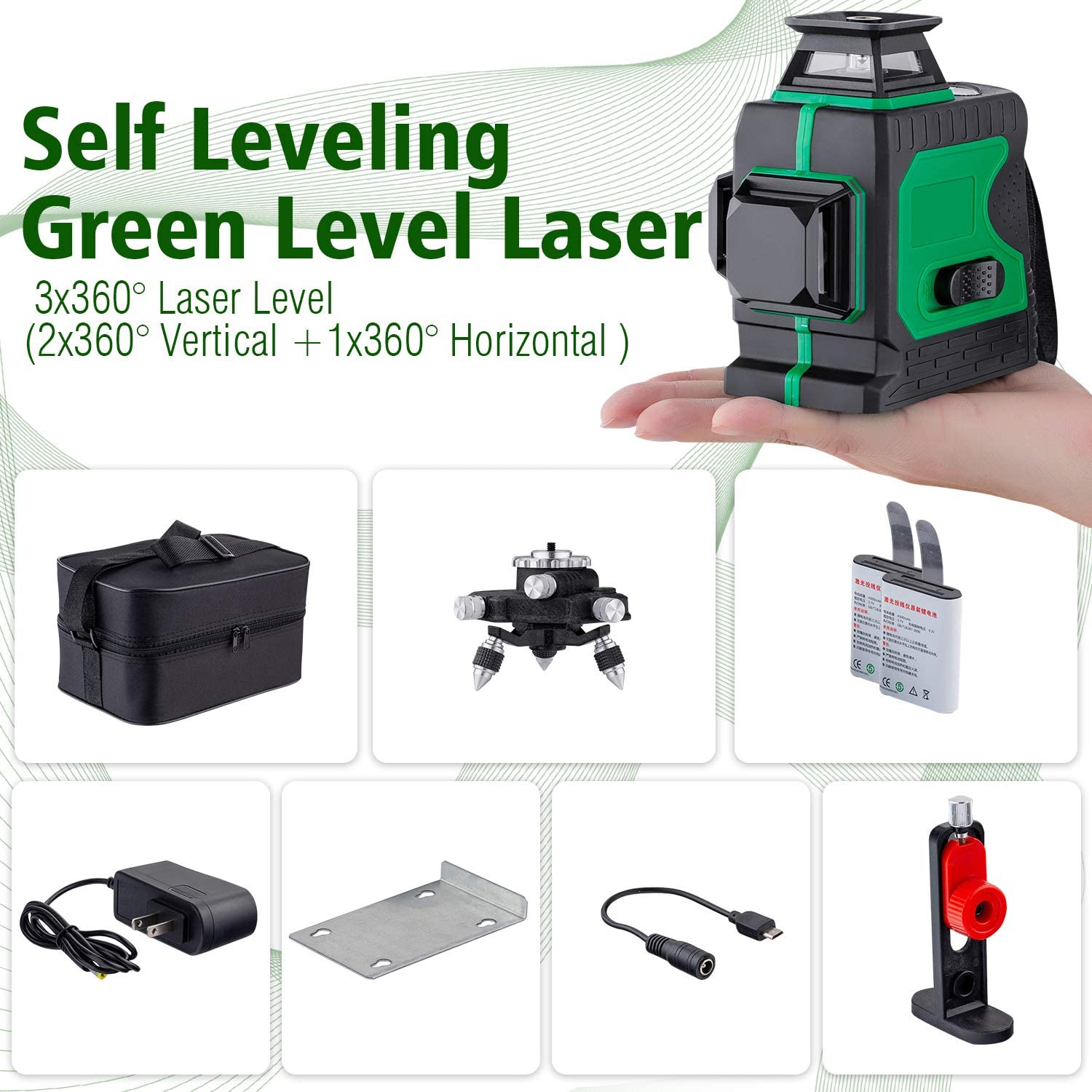 HUTACT 3D Green Laser Level Rechargeable 12 Lines Self-Leveling Laser Level with Pulse Mode Three Plane Cross Line 3x360/° Rotary Laser Level Laser Leveler Tool for Indoor /& Outdoor