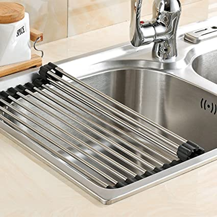 Delicieux Over The Sink Multipurpose Roll Up Dish Drying Rack ,Foldable Stainless  Steel Sink Rack