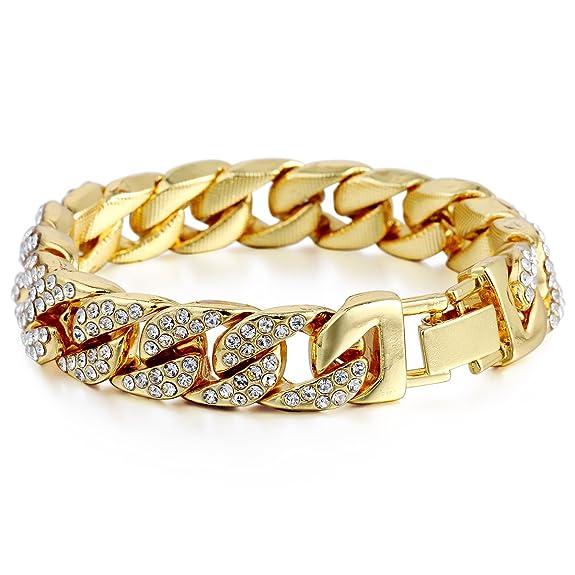 pulsera cubana Curb Oro amarillo relleno de piedras claras