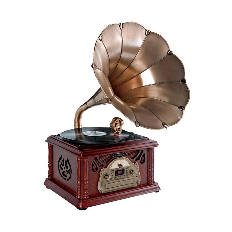 Amazon.com: Pyle clásica Trompeta Horn Tocadiscos/fonógrafo ...