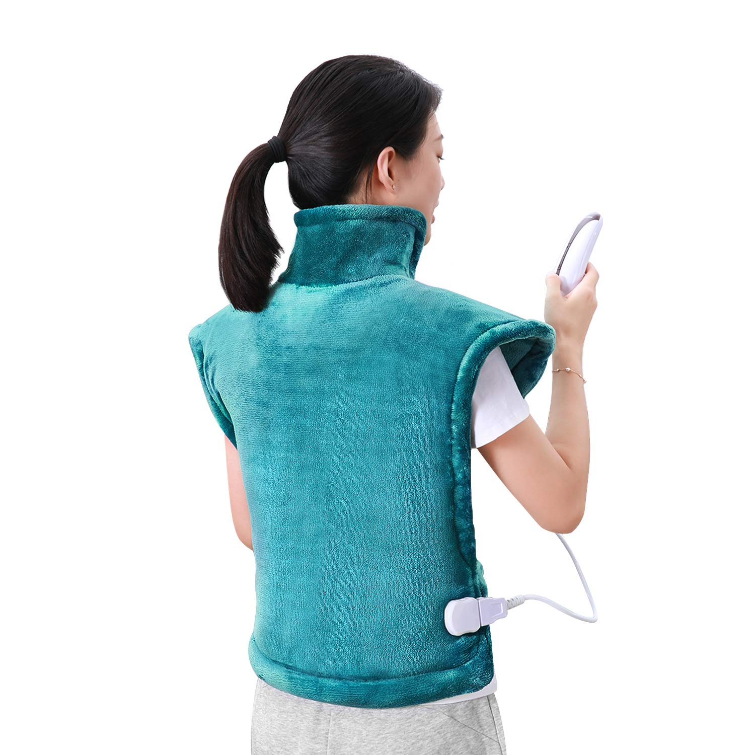 MaxKare Large Heating Pad for Back and Shoulder Pain, 24''x33'' Heat Wrap with Fast-Heating and 5 Heat Settings for Sport Sorness and Cramps Relief, Auto Shut Off Available-Lake green