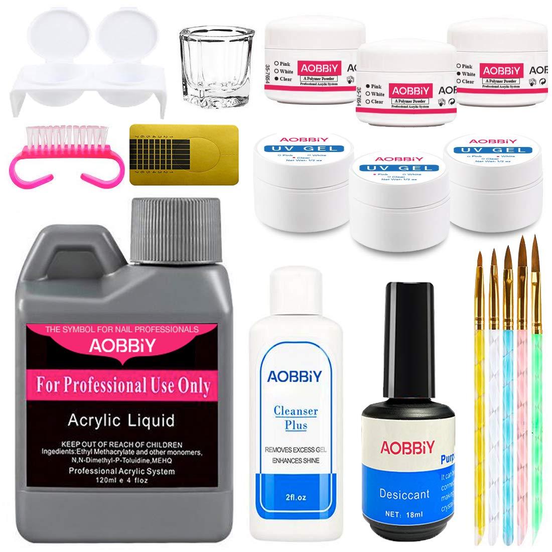 Aobbiy Acrylic Nail Art Kit, Acrylic Nail Powder Set, Professional Manicure Acrylic Nail Art Set, For Professional and Home Use.