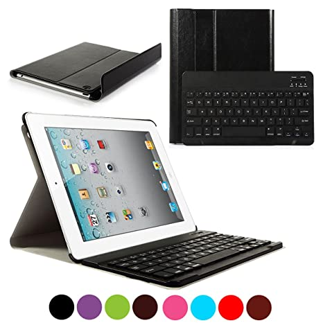 d1d1a6d2649 Amazon.com: CoastaCloud iPad 2/3/4 Really Thin Stand Cover with  Magnetically Detachable Wireless Bluetooth Keyboard Case for Apple iPad 2 3  4 (Black): ...