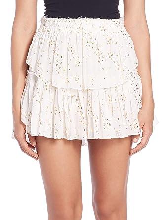 edb5662a6d LOVESHACKFANCY Women's Foil Star Print Ruffle Mini Skirt 3 / Large Cream &  Gold at Amazon Women's Clothing store: