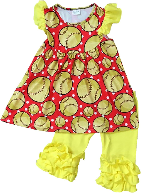 BNY Corner Little Girl Kids Short Sleeve Baseball Dress Ruffles Pants Set 2T-8
