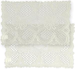Home-X Rectangular Lace Doilies. Set of 2. Cream or White (Cream)