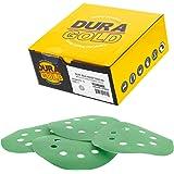 """Dura-Gold - Premium - 1000 Grit - 5"""" Green Film Sanding Discs - 8-Hole Dustless Hook and Loop for Random Orbit DA Sander - Bo"""