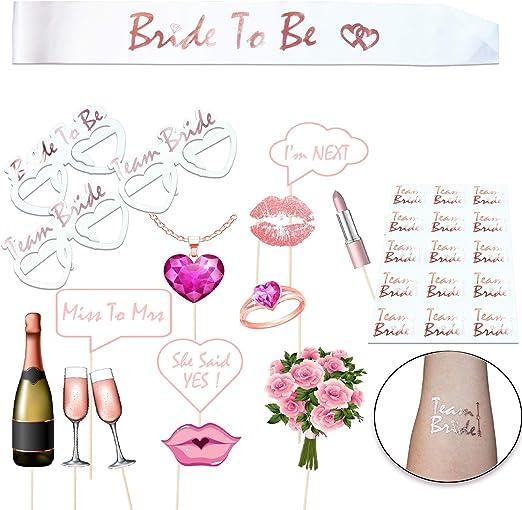 Fotomaton Boda, Accesorios Despedida de Soltera Oro Rosa Dorado, Photocall Bride to Be Rose Gold, Banda y Tatuajes de Despedida de Soltera: Amazon.es: Hogar
