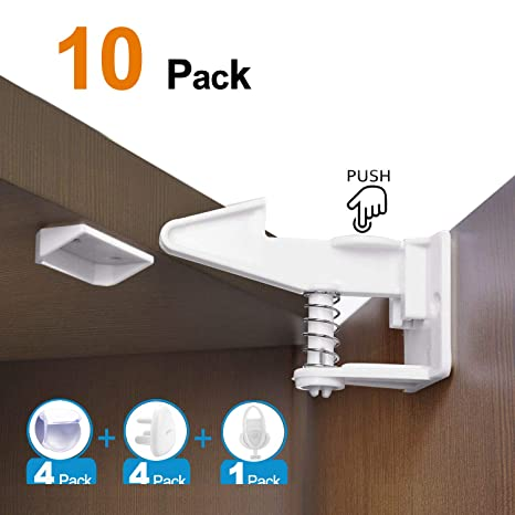 10 Pack Cabinet Locks Child Safety Latches, Baby Proofing Cabinets Drawer  Lock with Adhesive Easy Installation - (10Pack) (10)