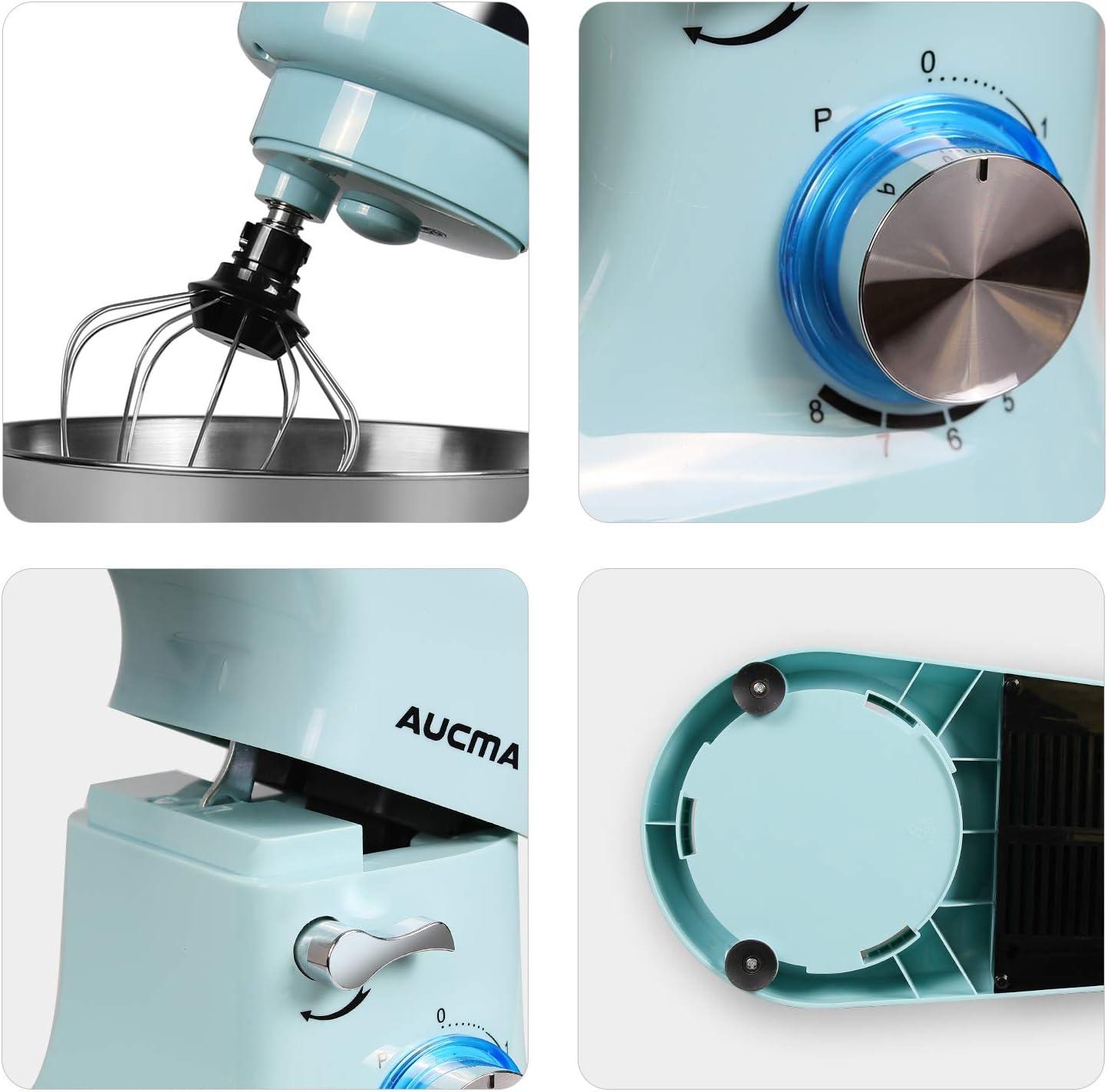 Clase de eficiencia energ/ética A+++ Batidora Amasadora Robot de Cocina con protecci/ón contra salpicaduras,8 niveles de velocidad AUCMA 5,5L Amasadora de Bajo Ruido para Reposter/ía