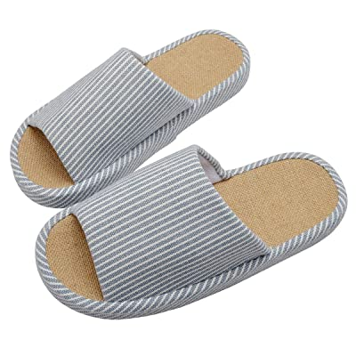WMZYIQI Women Slippers Soft Open Toe Anti-Slip Indoor Outdoor Stripe Linen Casual Home Shoes | Slippers
