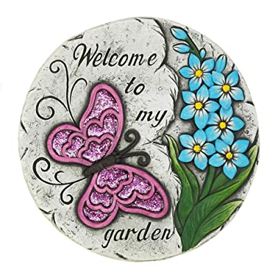 Garden Decor Pink Butterfly Garden Stepping Stone : Garden & Outdoor