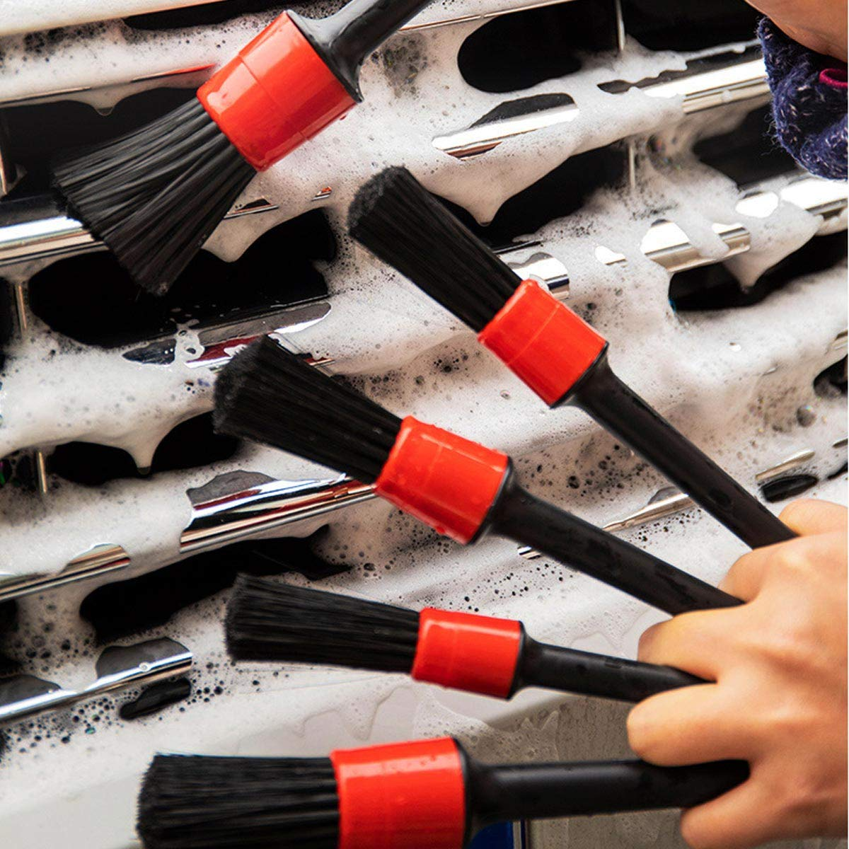 Interior Exterior Ytesky Auto Car Multi-functional Detailing Brush Set for Car Beauty Cleaning Gap Brush,Cleaning Wheels Air Vents,etc,Pack of 5 Emblems Trim Interior Dash