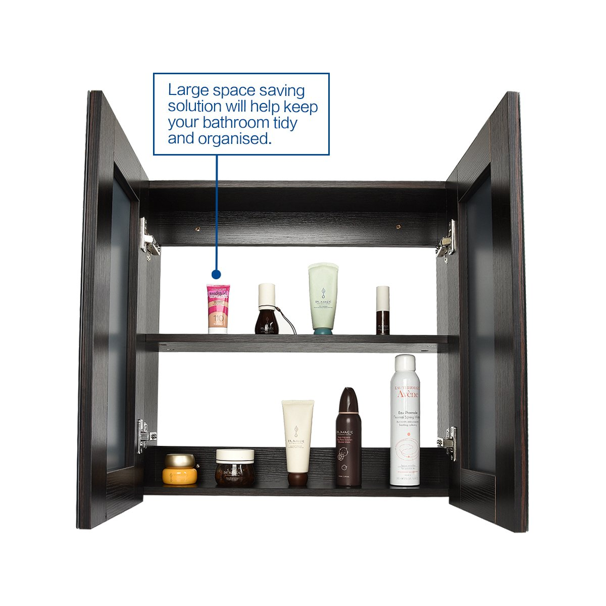 "Elecwish 24"" Wide Wall Mount Mirrored Bathroom Medicine Cabinet Storage 2 Mirror Door (23.6"" 23.6"" 6.3"")"