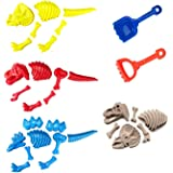 |Set of 3| Large Dinosaur Fossil Sand Molds Beach Toy Set for Kids with Rake and Shovel (25pc Playset)