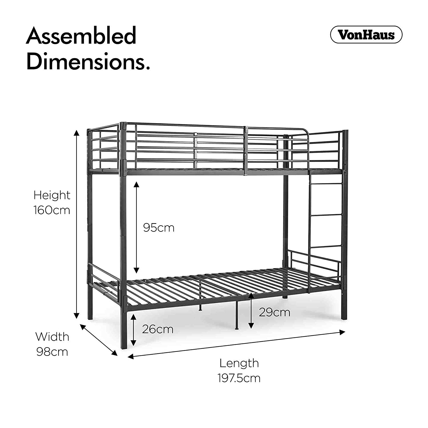 Vonhaus Bunk Bed Frame No Screw Bolt Construction For Easy