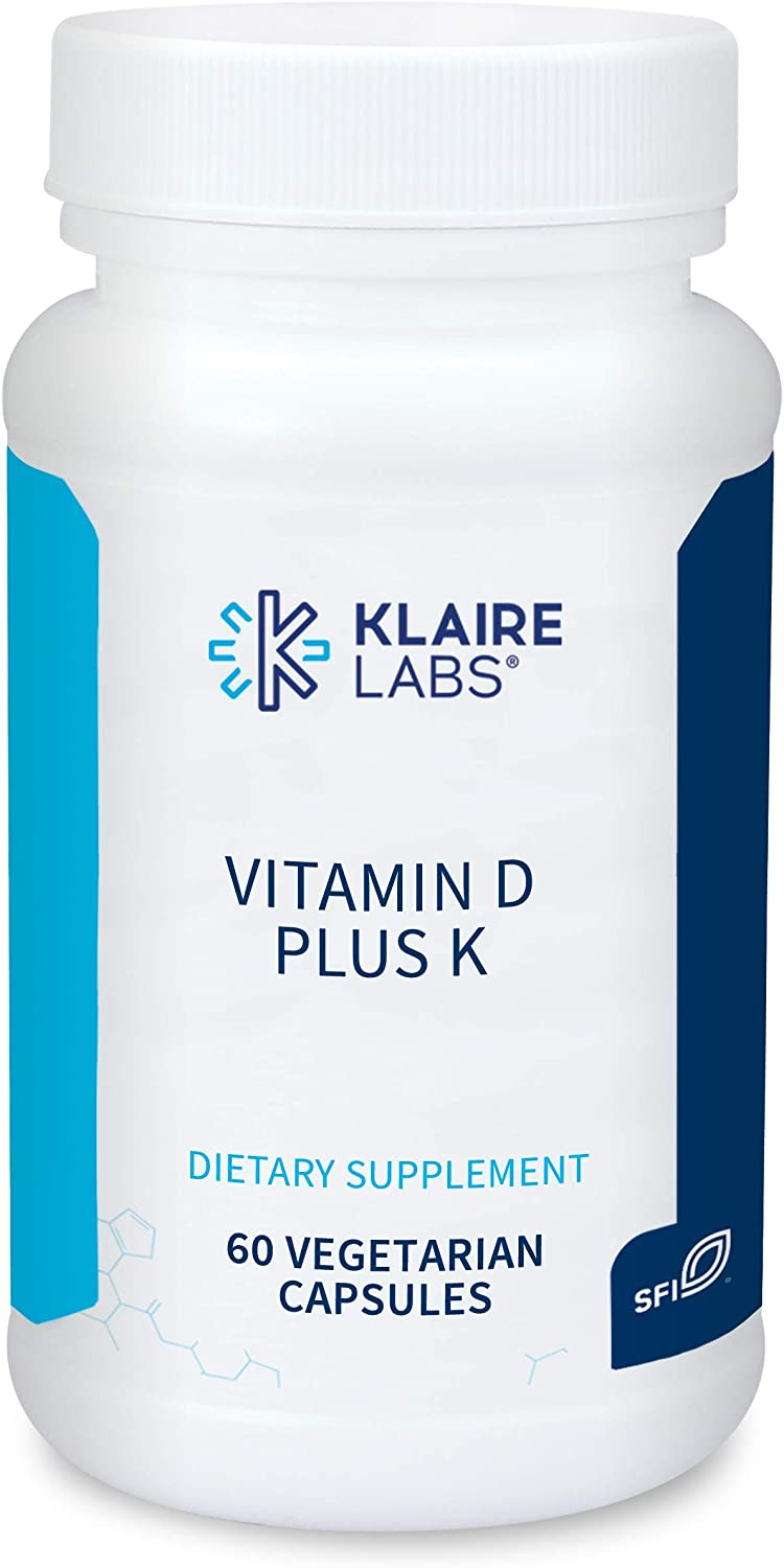 Klaire Labs Vitamin D Plus K - 5000 IU Vitamin D3 with Vitamin K2 MK-7, Bioavailable Formula for Bone, Cardiovascular & Immune Support (60 Capsules)